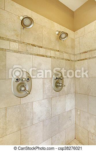 Stock Foto   Fliesenmuster, Modern, Heads., Zwei, Dusche, Beige