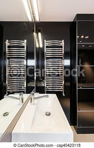 Stockfotografie von fliesenmuster, schwarz, badezimmer - groß ...