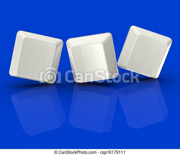 Drei leere Fliesen zeigen Hintergrund für drei Buchstaben - csp16179111