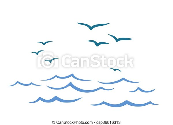 Flight birds over the ocean. - csp36816313