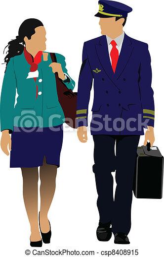 Flight crew. Cheerful pilot and st - csp8408915