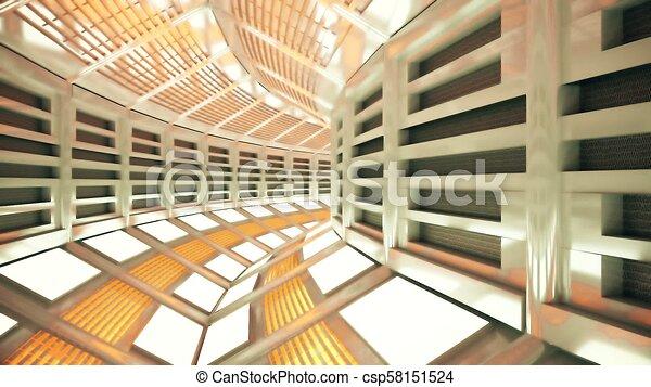 Flight in a sci-fi spaceship corridor. 3D rendering - csp58151524