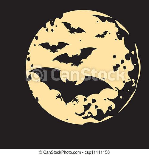 flight of a bat and moon - csp11111158