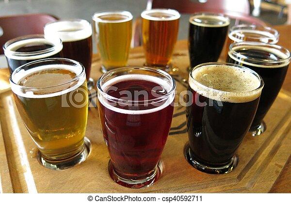 flight of beers at beer tasting - csp40592711