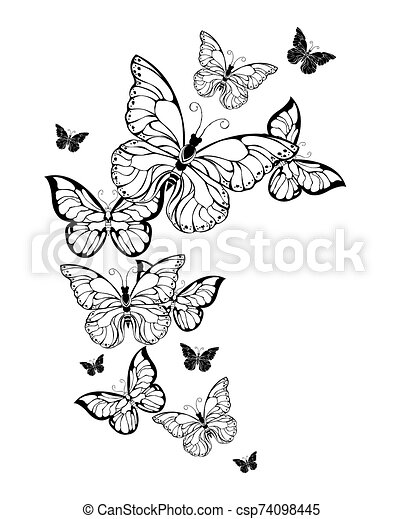 Flight Of Contour Butterflies Flying Flocks Of Contour Artistic Butterflies On White Background Tattoo Style