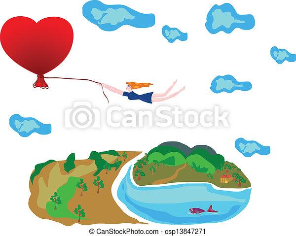 Flight of in the love. - csp13847271