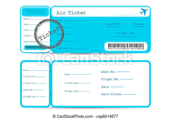 Flight Ticket Illustration Of Front And Back Part