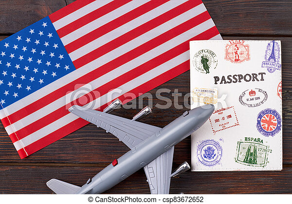 Flight to the United States concept. - csp83672652