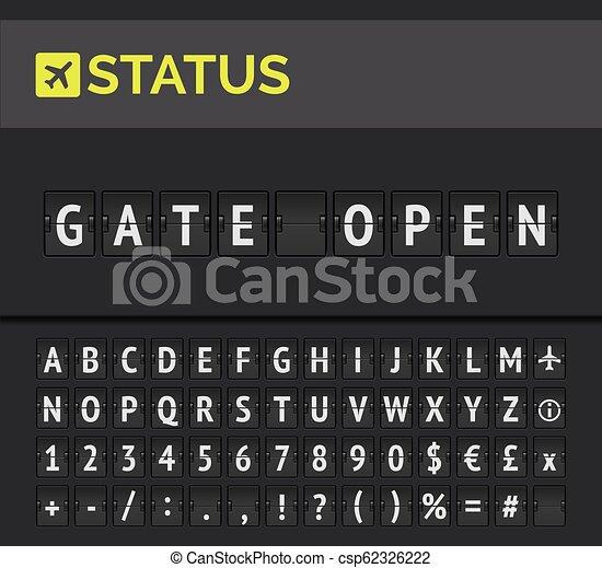Flip board showing airport flight departure status Gate open. Vector - csp62326222