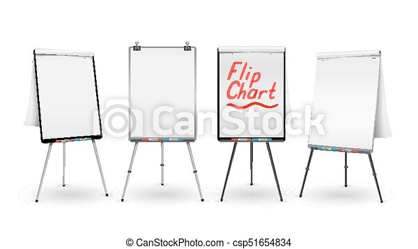 flip chart set vector office whiteboard for business training