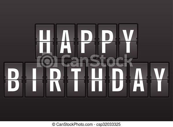 Flip clock happy birthday - csp32033325