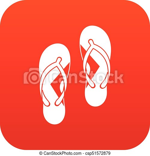 713d0f2d1f47 Flip flop sandals icon digital red for any design isolated on white ...