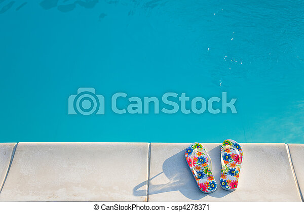 flip-flops near the swimming-pool - csp4278371