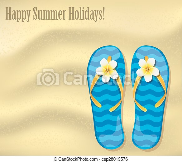 1306af8f72da Flip-flops on the sand. Vacations background with a texture of sand ...