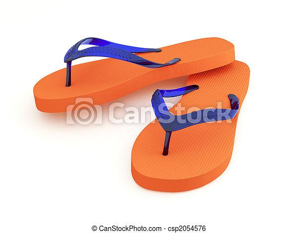 2b042e86f1b5 Flip flops on white background. Orange flip flops with indigo blue ...