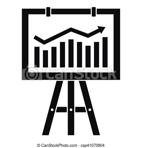 Flipchart with marketing data icon, simple style - csp41070804
