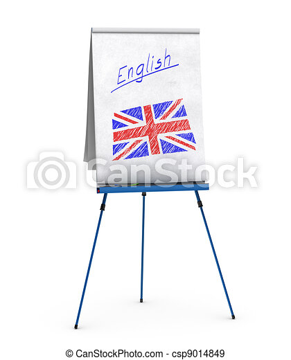 flipchart with the word english handwritten onto the paper and union jack flag - csp9014849