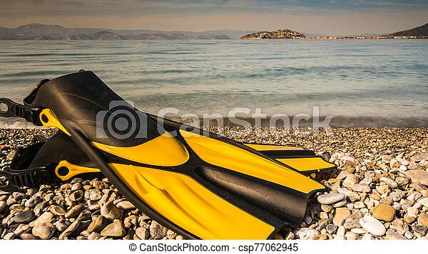 Flippers swimming equipment on beach - csp77062945