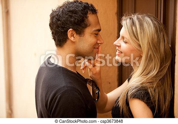 flirt, couple, baiser - csp3673848
