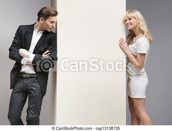 flirten, paar, weich, attraktive, zwischen - csp13138735