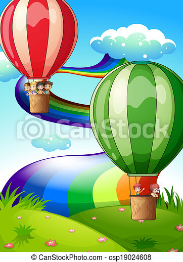 Floating balloons with kids - csp19024608
