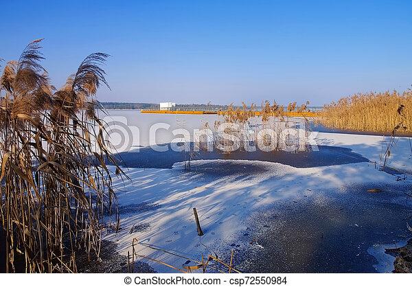 Floating bridge in winter - csp72550984