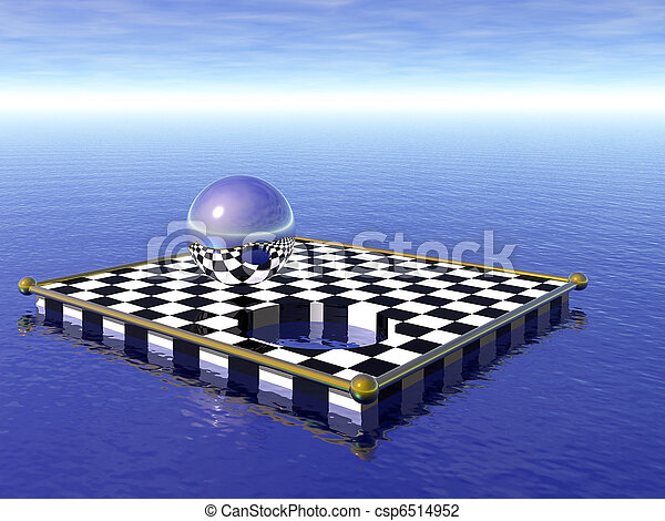 Floating Checkerboard with Steel Sphere - csp6514952