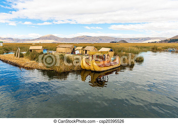Floating Islands on Lake Titicaca Puno, Peru, South America, thatched home. Dense root that plants Khili interweave form natural layer about one to two meters thick that support islands - csp20395526