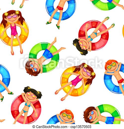 floating kids pattern - csp13570503