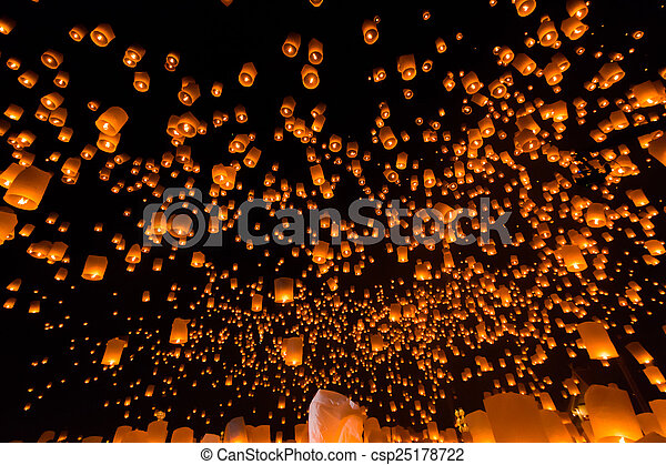 Floating lantern at Chiang Mai Province, Asia Thailand - csp25178722