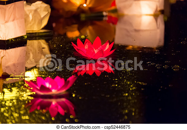 Floating Lotus Flower Paper Lanterns On Water Floating Picture