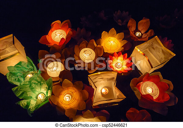 Floating Lotus Flower Paper Lanterns On Water Floating Paper