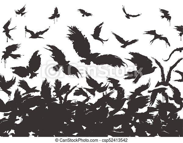 flock of birds in black - csp52413542