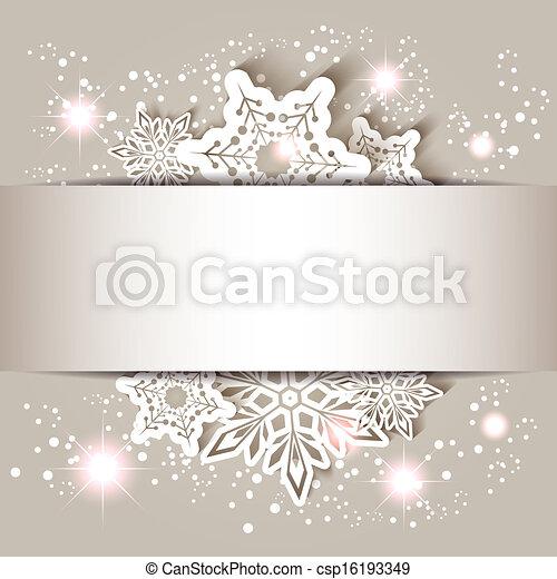 flocon de neige, étoile, noël carte, salutation - csp16193349