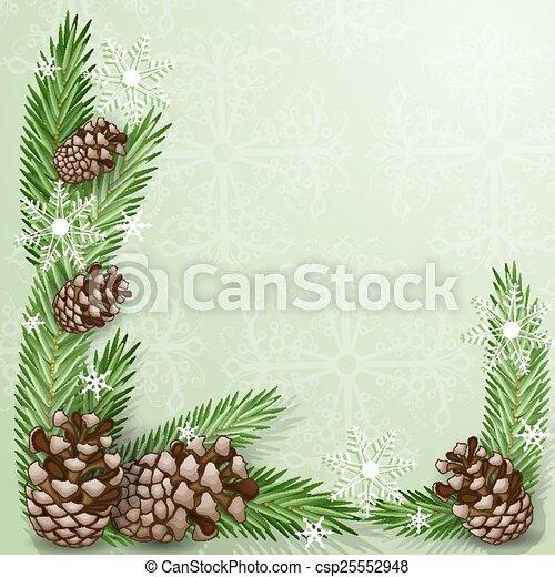 flocon de neige, cône, pin, branche - csp25552948