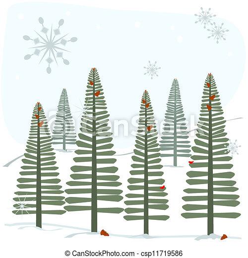flocons neige, arbres - csp11719586