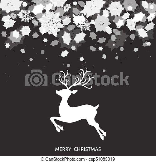 Dessin Cerf De Noel Noir Et Blanc