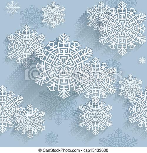 flocons neige, vecteur, illustration - csp15433608