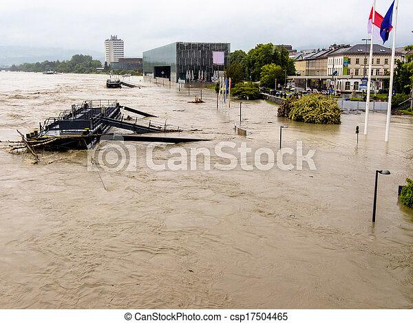 flood, 2013, linz, austria - csp17504465