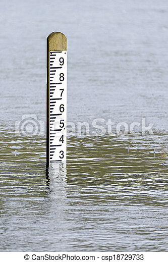 Flood level water depth marker post - csp18729733