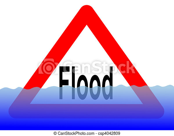flood sign with water - csp4042809