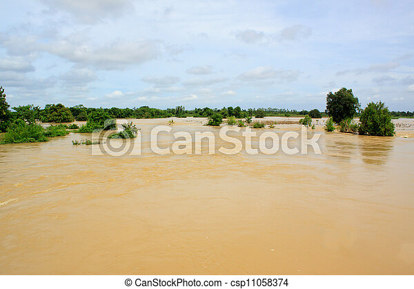 flood water in agriculture area - csp11058374