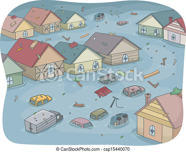 illustration of a flooded city with partially submerged Tornado Shelter Clip Art Real Tornado Clip Art