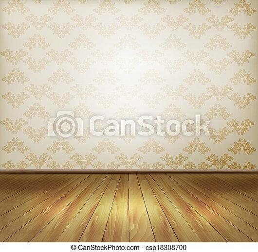 floor., 古い, 背景, 壁, 木製である, vector. - csp18308700