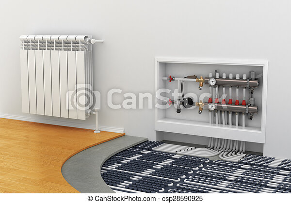 floor heating system, the collector, the battery - csp28590925