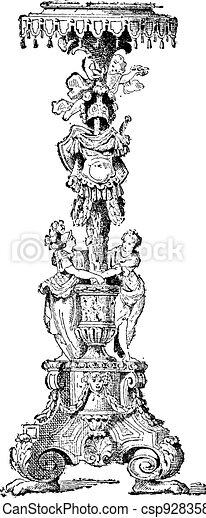Floor lamp or Torchiere, vintage engraving. - csp9283585
