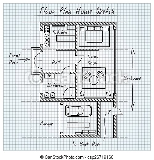 Floor plan house sketch. technical construction, architectural flat ...