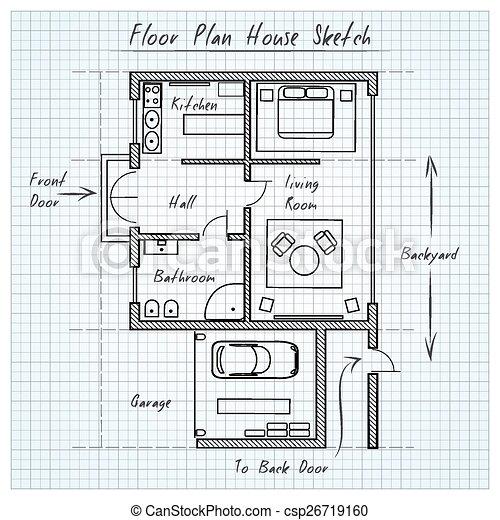 Floor Plan House Sketch   Csp26719160