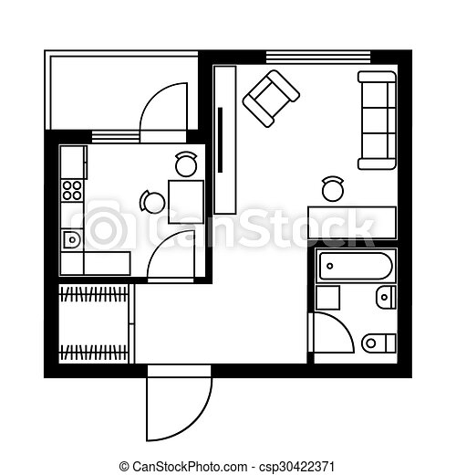 Floor plan of a house with furniture vector illustration vectors