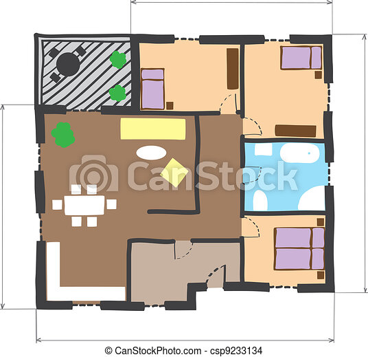 Illustration of floor plan of house colored doodle style eps